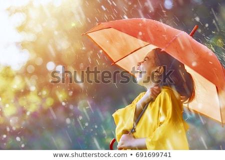 Derűs fiatal lány visel esőkabát áll izolált Stock fotó © deandrobot