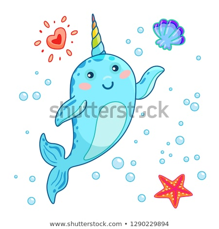 Cute Cartoon kawaii arco iris cuerno Hola Foto stock © MarySan