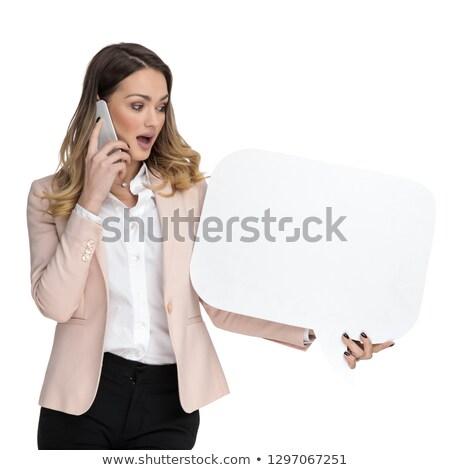 verwonderd · zakenvrouw · praten · lopen · beneden - stockfoto © feedough