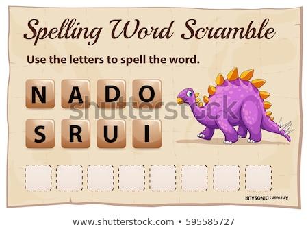 Spelling word scramble game with word dinosaur Stock photo © colematt