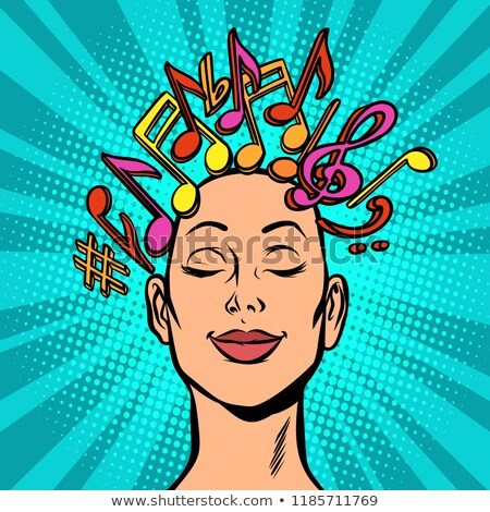 Stock fotó: Musical Notation Note Marks Woman Composer Composes Or Hears Mu