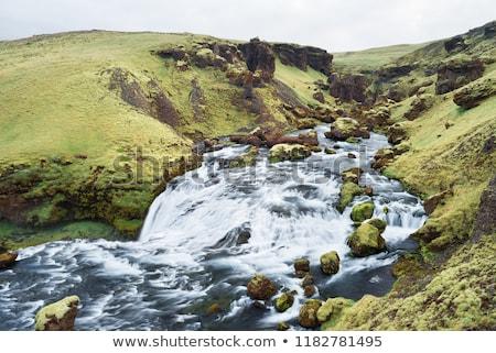 Vert rivière Islande belle au-dessus cascade Photo stock © Kotenko