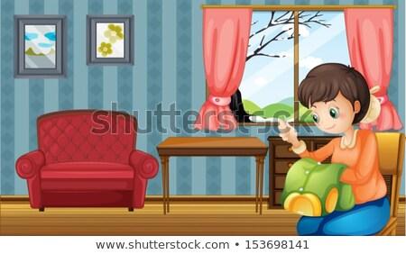 Nő varr póló szék illusztráció háttér Stock fotó © colematt