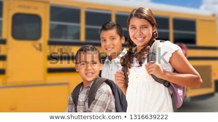 Stok fotoğraf: Genç · koyu · esmer · erkek · okul · otobüsü · okul