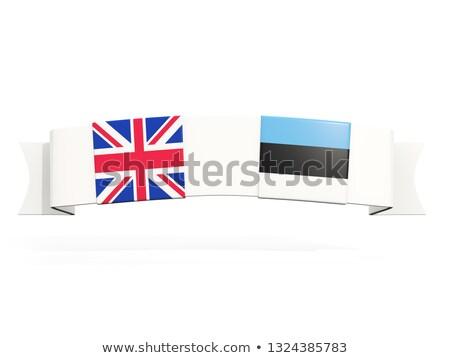 Afiş iki kare bayraklar Büyük Britanya Estonya Stok fotoğraf © MikhailMishchenko
