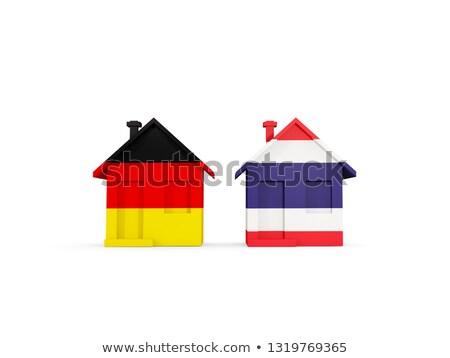 Dwa domów flagi Niemcy Tajlandia odizolowany Zdjęcia stock © MikhailMishchenko