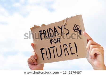 text fridays for future in a brown signboard Stock photo © nito