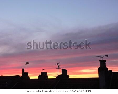 Városkép színes naplemente égbolt elektromos állomás Stock fotó © 5xinc