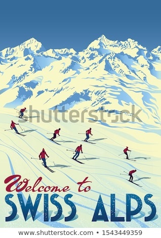 Color vintage Ski sport poster Stock photo © netkov1