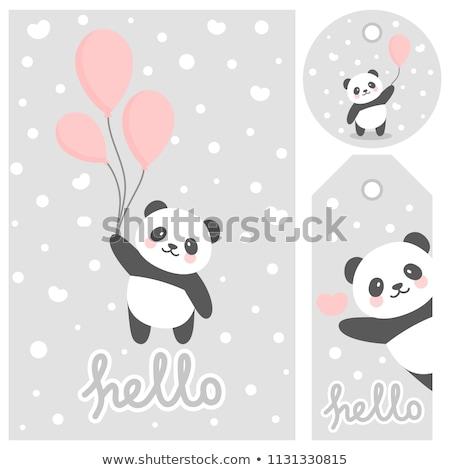 Stockfoto: Panda · nota · sjabloon · illustratie · textuur · achtergrond