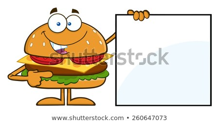 funny hamburger cartoon character pointing to a blank sign stock photo © hittoon