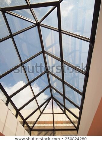 Glas dakraam dak luchthaven tonen blauwe hemel Stockfoto © bobkeenan
