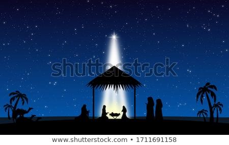 Natale · scena · illustrazione · tramonto · Gesù · notte - foto d'archivio © adrenalina