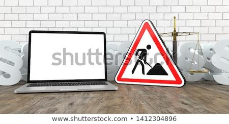 Escala construção assinar mesa de madeira ilustração 3d teia Foto stock © limbi007