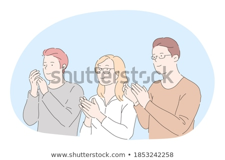 Three businessmen applauding and clapping Stock photo © Giulio_Fornasar