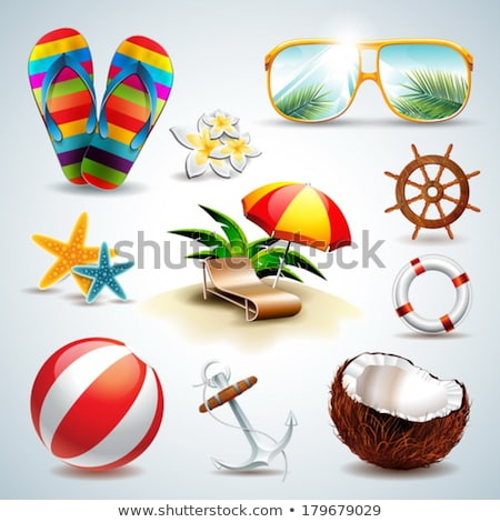 Vector Summer Holiday Illustration With Lifebelt And Exotic Palm Trees On Ocean Landscape Background Stok fotoğraf © articular