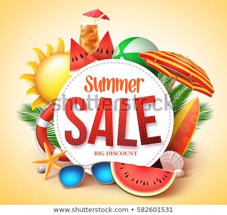 Nyár vásár görögdinnye labda plakátok szöveg Stock fotó © robuart