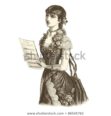 Romantica cantante donna isolato illustrazione microfono Foto d'archivio © tiKkraf69