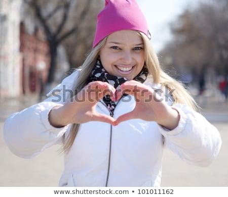 мира рукой знак парка отдыха Сток-фото © dolgachov