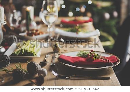 Stockfoto: Christmas · tabel · vakantie · feestelijk · voedsel