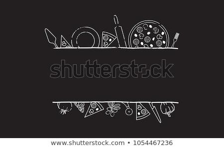 ピザ にログイン 料理の ラベル ベクトル ピザ屋 ストックフォト © robuart