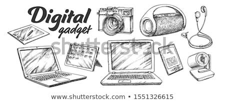 Wireless speaker digitale gadget in bianco e nero vettore Foto d'archivio © pikepicture