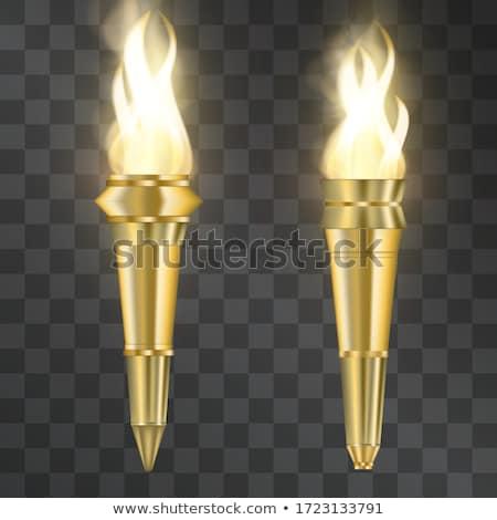 Anciens lampe de poche isolé blanche feu métal Photo stock © cidepix