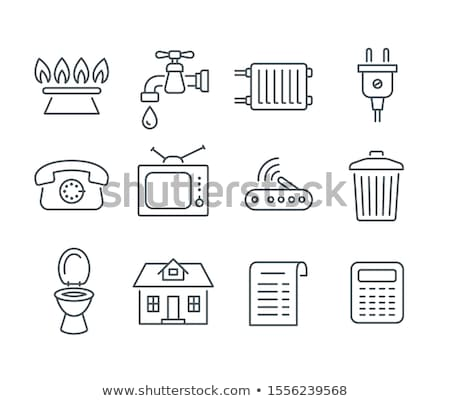 Household services utility payment bill line icons Stock photo © vectorikart