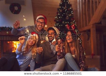 Natal amigos projeto vetor diversão vermelho Foto stock © balasoiu