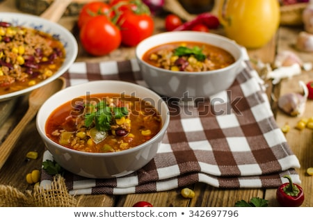 Stock photo: Soup with vegetable and minced meat