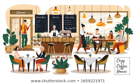 Coffee House Inside, People Drinking Beverages Stock photo © robuart