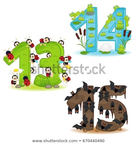 Oktatási rajz számok szett rovar betűk Stock fotó © izakowski