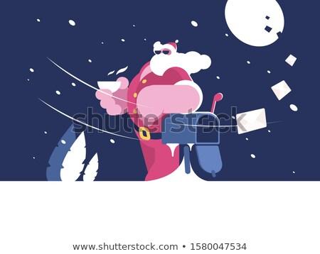Kerstman mailbox beker koffie illustratie gelukkig Stockfoto © jossdiim