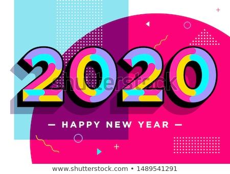 Kolorowy funky stylu szczęśliwego nowego roku banner strony Zdjęcia stock © SArts