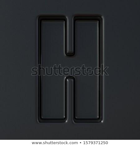 Black engraved font Letter H 3D Stock photo © djmilic