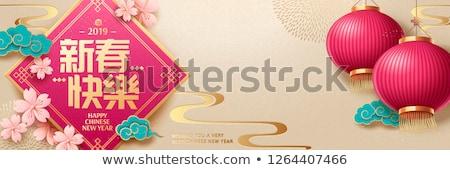 Banner felice capodanno cinese tradizionale rosso cinese Foto d'archivio © ikopylov