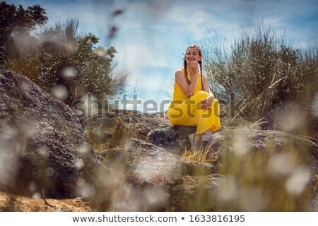 Woman enjoying the scent of Lavender in the Alentejo, Portugal Stock photo © Kzenon
