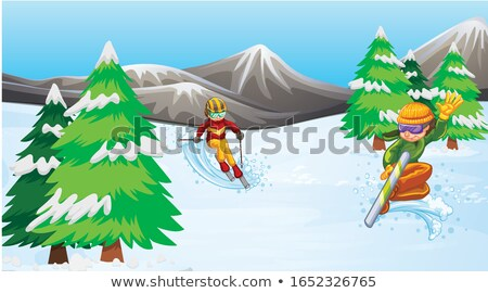 Scene with athlete snowboarding in the field Stock photo © bluering
