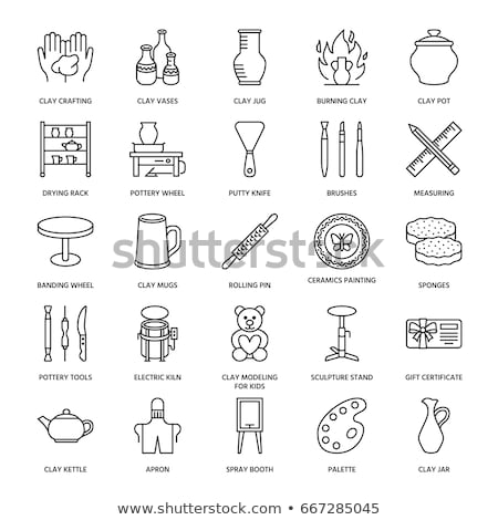Elektrik çanak çömlek tekerlek ikon vektör Stok fotoğraf © pikepicture