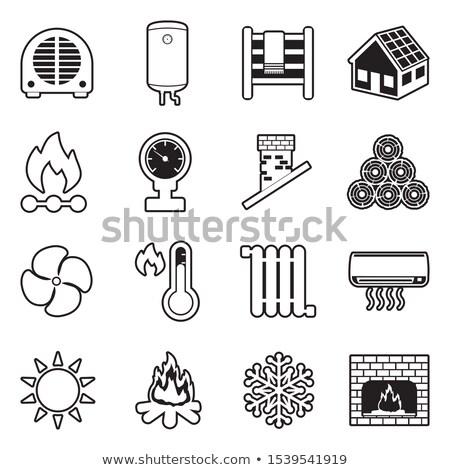 Termômetro madeira casa painel frio inverno Foto stock © olira