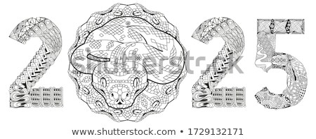 Zentangle stylized snake number 2025. Hand Drawn lace vector illustration Stock photo © Natalia_1947