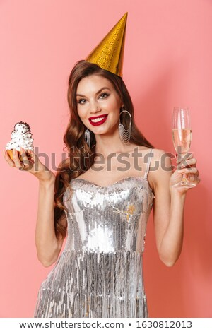 Optimista nő fényes ruha tart minitorta Stock fotó © deandrobot