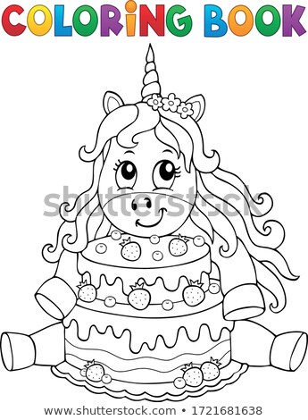 Coloring book unicorn with cake 1 Stock photo © clairev