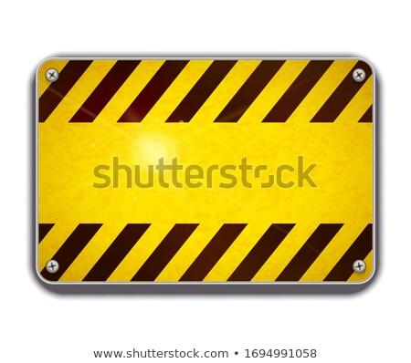 Bright glossy metal plate, warning sign template on white Stock photo © evgeny89