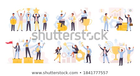 Cartoon People and Growth of Rates, Achievements Stock photo © robuart