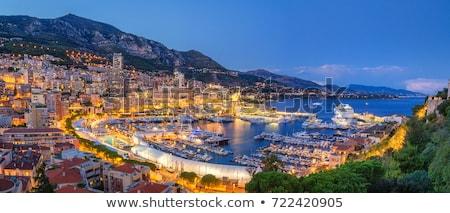 Monaco nuit vue eau ville montagne Photo stock © vladacanon