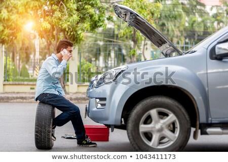 Kapotte auto auto weg metaal machine staal Stockfoto © Nobilior
