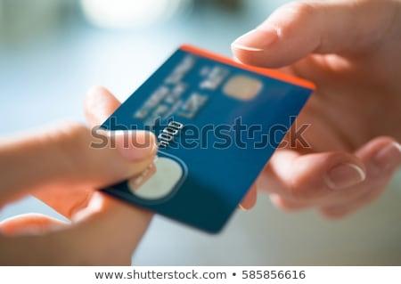 dívida · cartões · de · crédito · isolado · azul · lápis · financiar - foto stock © dacasdo