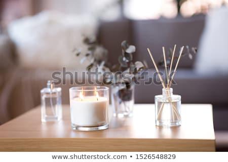 Decoratie kaars noten beige christmas vakantie Stockfoto © SRNR