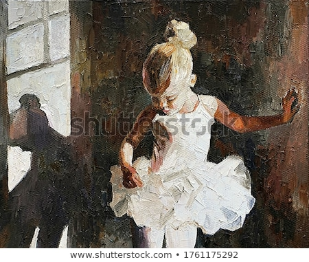 silhouet · bevallig · ballerina · zwarte · badpak · oefening - stockfoto © tobkatrina